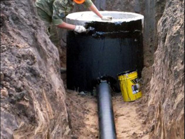 Гидроизоляция стыков бетонных колец при монтаже водяного колодца полиуретановый лак для дверей