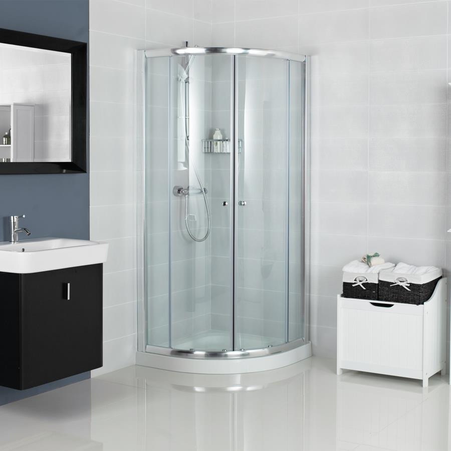 Repair in a small shower room. Shower cabin in a small bathroom: the ...
